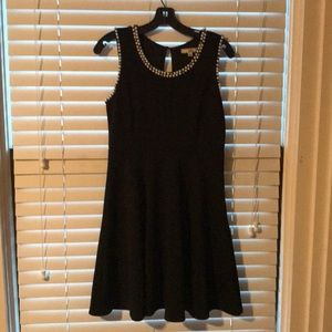 Black Dress with Pearl and Rhinestone Detail